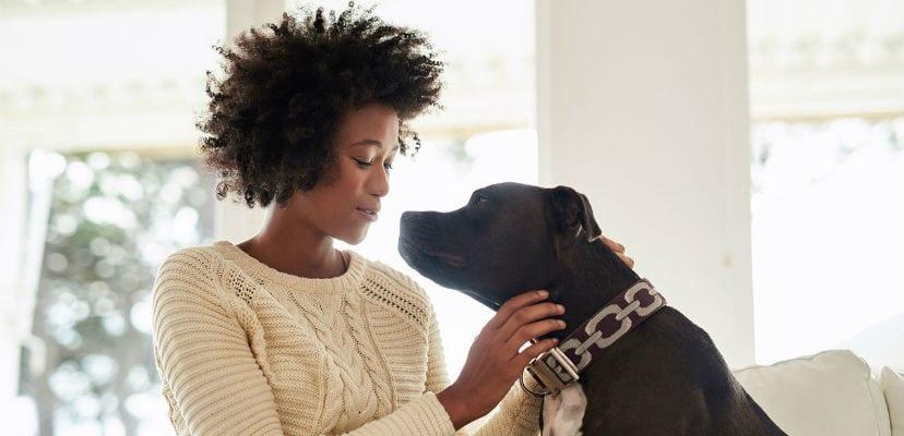 Mujer acariciando a su perro.