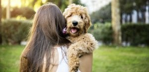 Mujer abrazando a un perro.