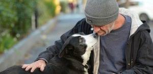 Perro mostrando cariño a un hombre.
