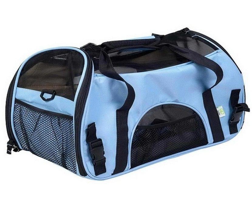 Transportín de viaje azul para perros