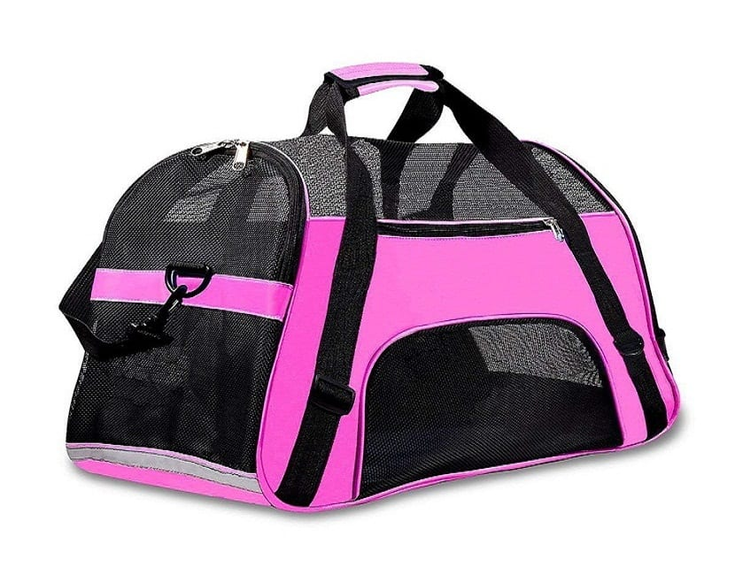 transportin rosa de viaje para perros